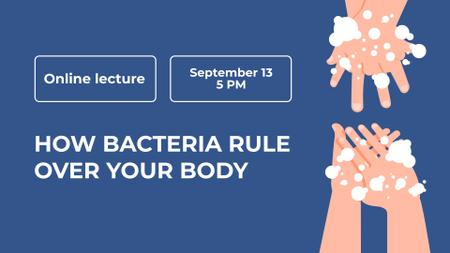 Online Lecture ad with Hand Washing FB event cover Design Template