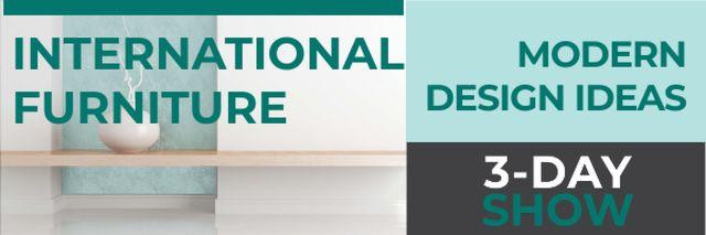 Ontwerpsjabloon van Email header van Home Decor Event Ad with Vase in Blue