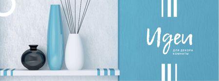 Room Decor Ideas with Decorative Vases Facebook cover – шаблон для дизайна