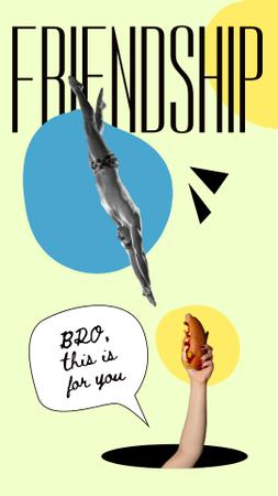 Modèle de visuel Funny Illustration with Sportsman and Hand holding Hot Dog - Instagram Story