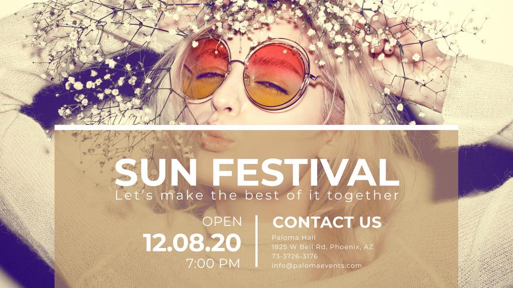 Sun festival advertisement with happy Girl — Создать дизайн