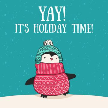 Winter Greeting with Cute Winter Penguin