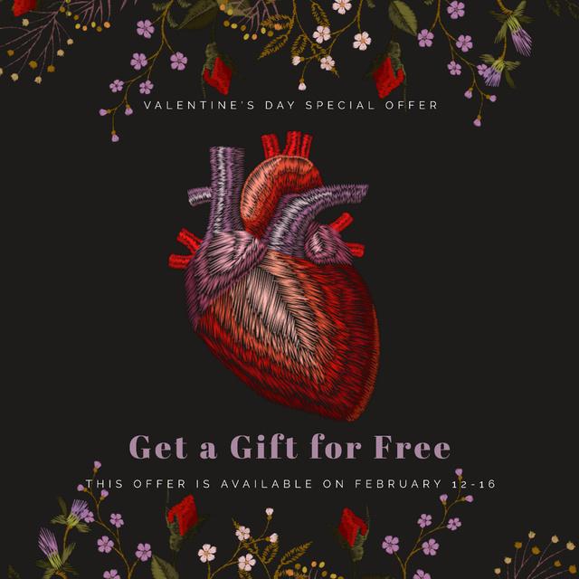 Plantilla de diseño de Valentine's Day Heart in Flowers Animated Post