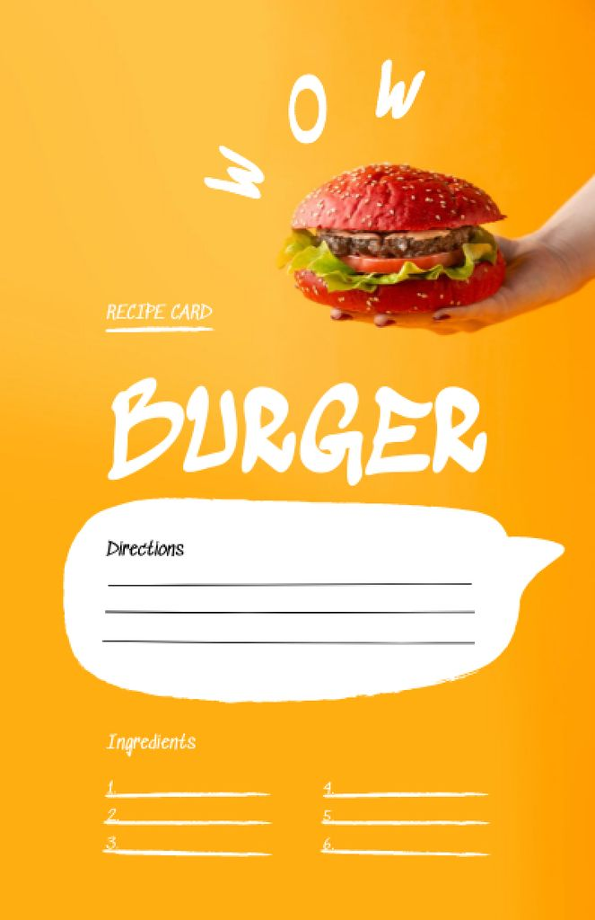 Delicious Burger Cooking Steps Recipe Cardデザインテンプレート