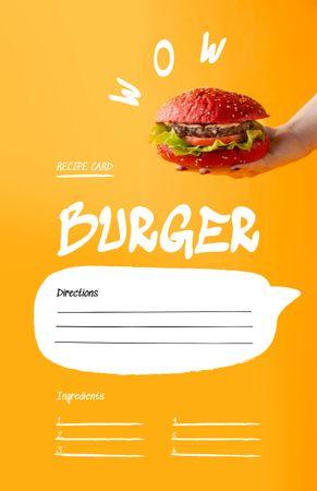 Modèle de visuel Delicious Burger Cooking Steps - Recipe Card