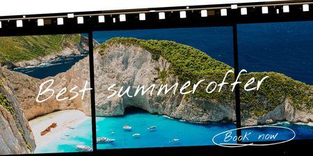 Summer Travel Offer with Scenic Cliff in Ocean Twitter – шаблон для дизайну