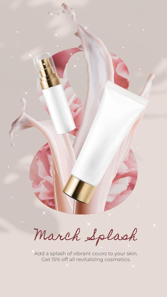 Spring Sale offer Skincare products in Pink — Створити дизайн
