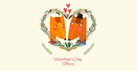 Plantilla de diseño de Valentine's Day Offer with Cute Foxes Facebook AD