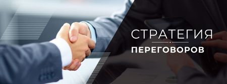 Negotiation Strategies with Business People shaking hands Facebook cover – шаблон для дизайна