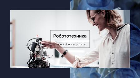 Woman programming robot Youtube – шаблон для дизайна