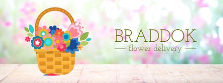 Blooming flowers in basket Facebook Video cover Modelo de Design