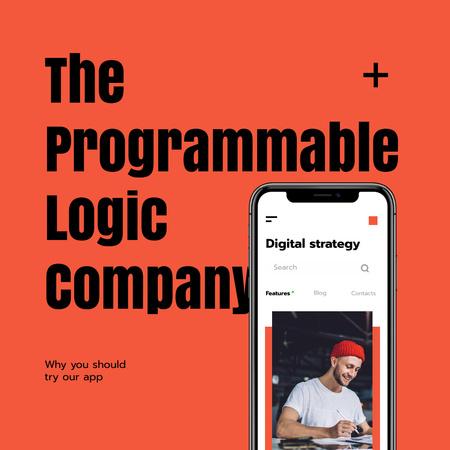 Digital Strategy Announcement with Man on Phone Screen Instagram Modelo de Design
