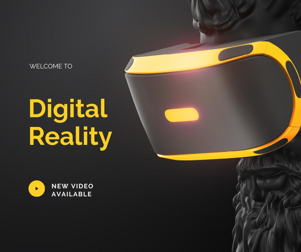 Digital Reality Ad with Antique Statue in VR glasses Facebook Design Template