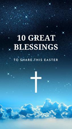 Easter Blessings with Cross in Heaven Instagram Story – шаблон для дизайна