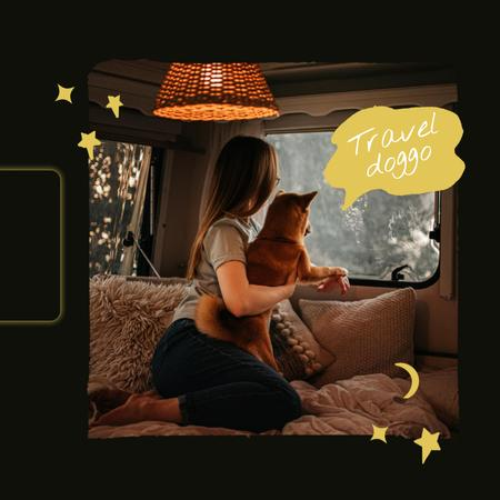 Plantilla de diseño de Girl travelling with Dog in car Animated Post