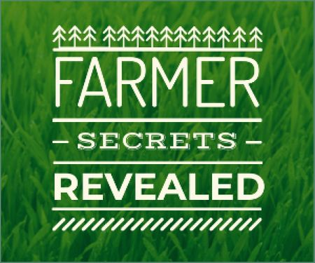 Plantilla de diseño de farmer secrets revealed poster on green grass background Medium Rectangle