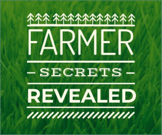 farmer secrets revealed poster on green grass background Medium Rectangle Modelo de Design