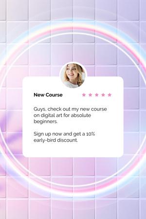 Ontwerpsjabloon van Pinterest van New Online Course Announcement