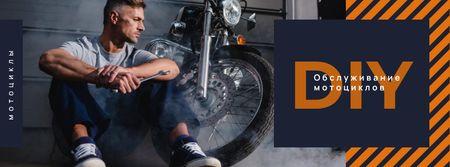 Biker repairing his motorcycle Facebook cover – шаблон для дизайна