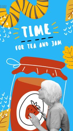 Funny Illustration of Grandma and Huge Jam Instagram Story – шаблон для дизайна