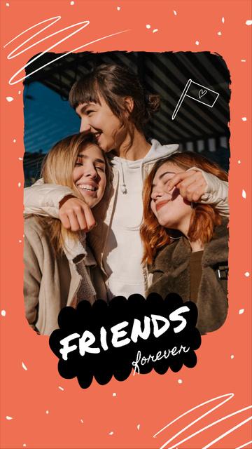 Designvorlage Happy young Friends together für Instagram Video Story