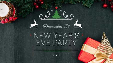 Ontwerpsjabloon van FB event cover van New Year's Eve Party Announcement with Festive Gift