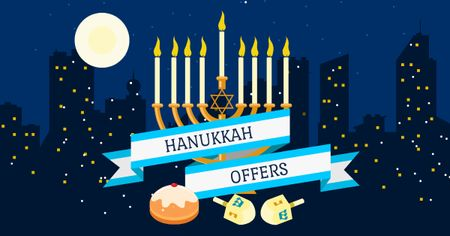Hanukkah Offer with Night City Facebook AD Modelo de Design
