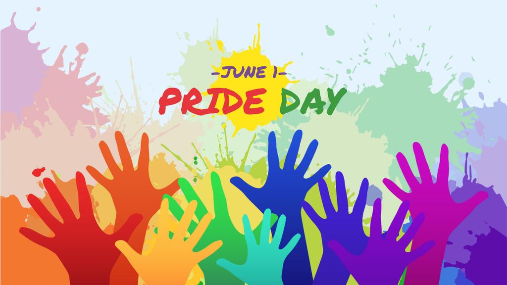 Modèle de visuel Pride Day Announcement with Colorful Hands - FB event cover
