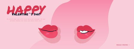 Plantilla de diseño de Kissing red lips on Valentine's Day Facebook Video cover