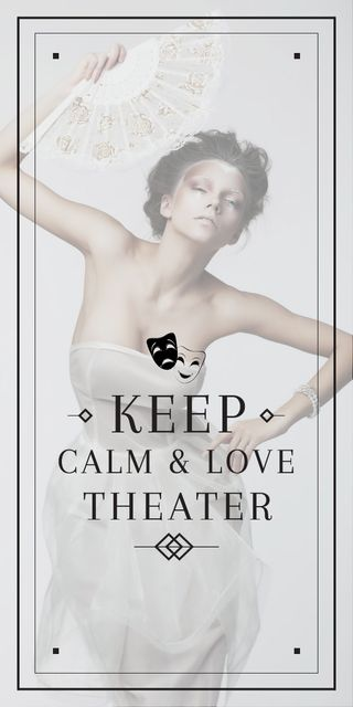 Theater Quote Woman Performing in White Graphic Design Template