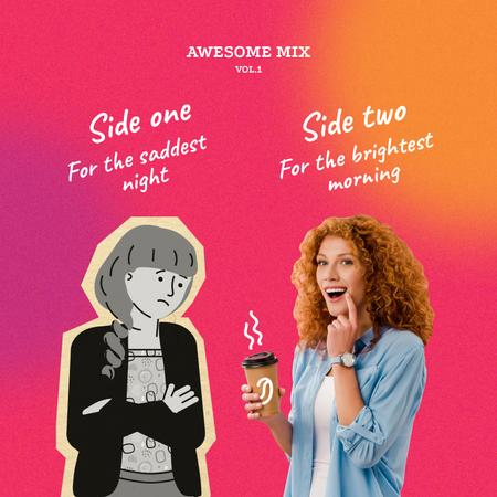 Platilla de diseño Funny ad with Woman holding Cup Album Cover