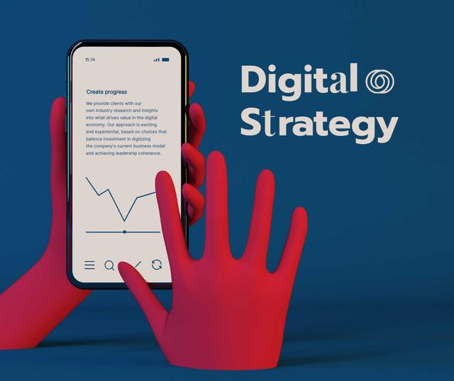 Designvorlage Digital Strategy Ad with using Mobile App für Facebook