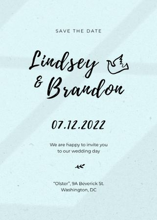 Save the Date and Wedding Event Announcement with Dove Illustration Invitation – шаблон для дизайну