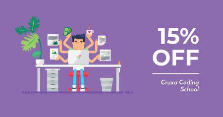 Coding School Offer with Multitask Programmer Facebook AD Modelo de Design