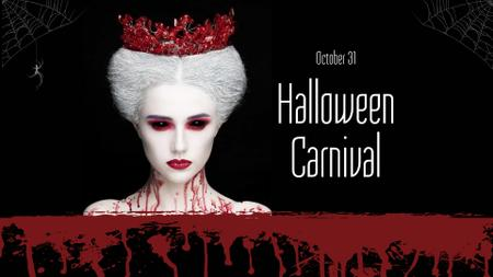 Halloween Carnival Announcement with Scary White Queen FB event cover Modelo de Design