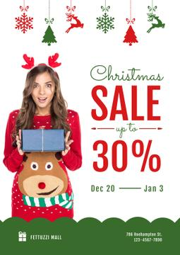 Christmas Sale with Woman Holding Present