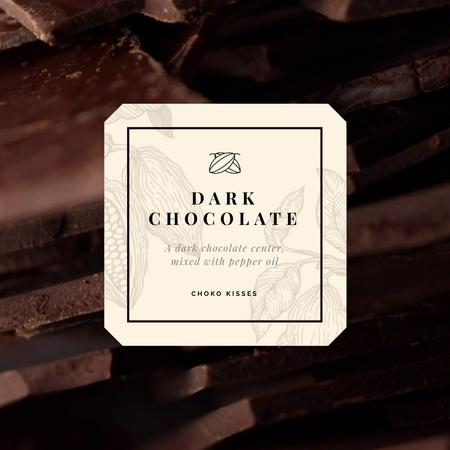 Sweet Dark Chocolate Pieces Animated Post Modelo de Design