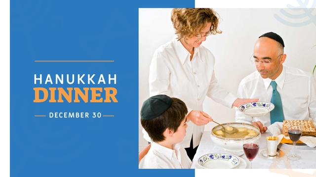Family celebrating Hanukkah Dinner FB event cover – шаблон для дизайна