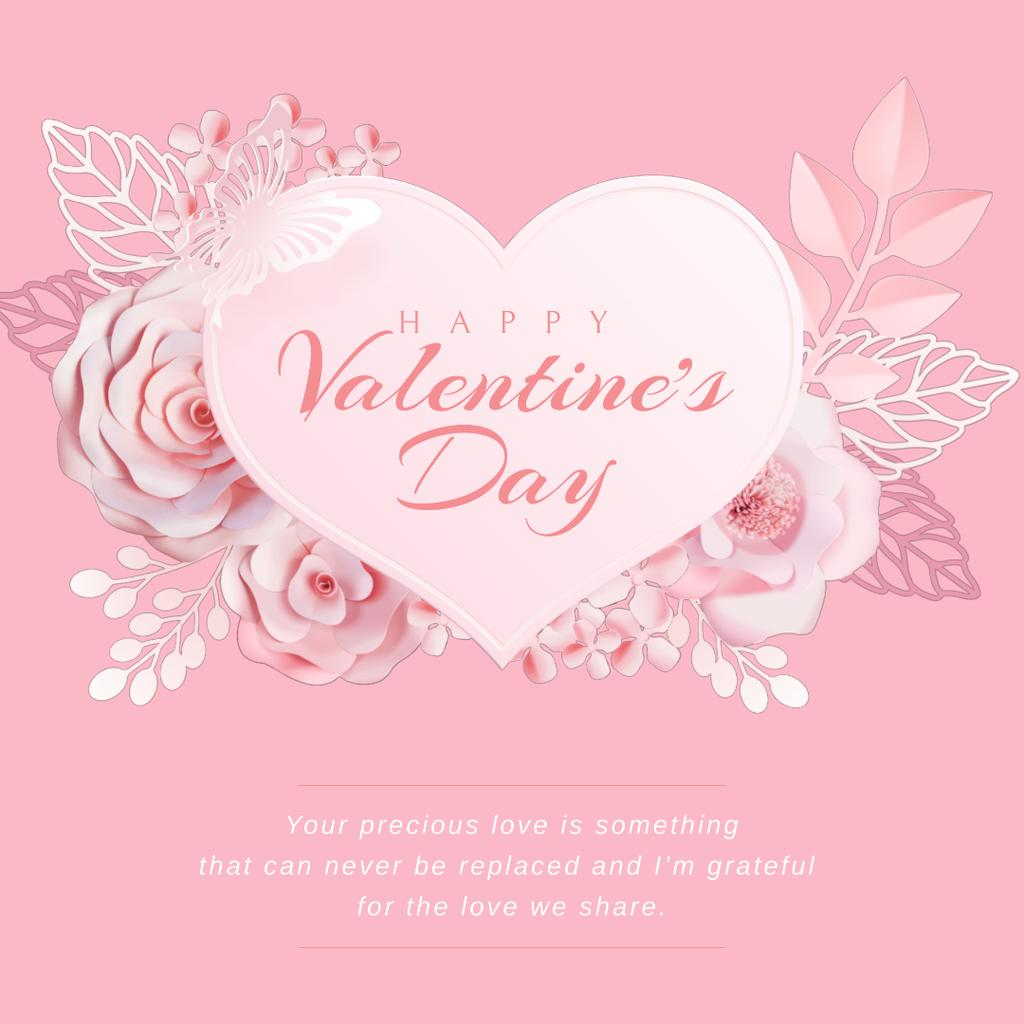 Valentine's Day with Pink heart with Flowers — Create a Design