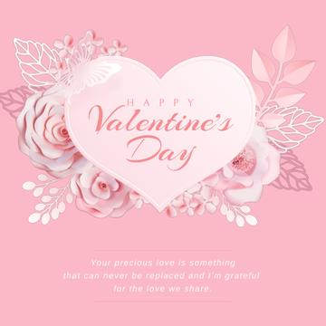 Valentine's Day with Pink heart with Flowers