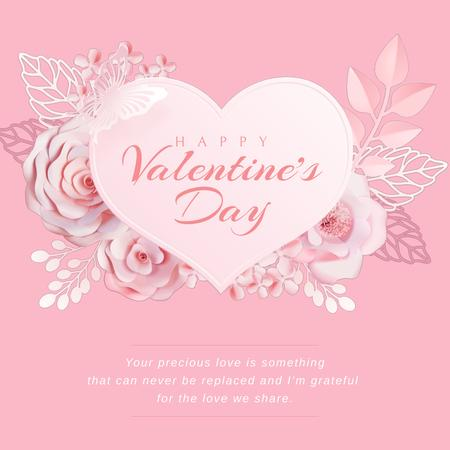 Valentine's Day with Pink heart with Flowers Animated Post Tasarım Şablonu