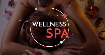 Ontwerpsjabloon van Facebook AD van Wellness Spa Ad Woman Relaxing at Stones Massage