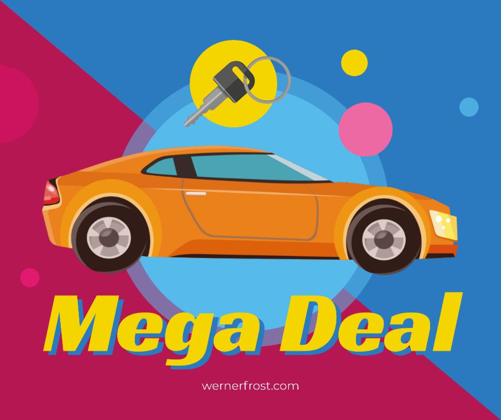 Auto Sale New car and key Facebook Design Template