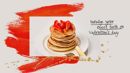 Plantilla de diseño de Valentine's Day Offer with Pancakes and Strawberries Full HD video
