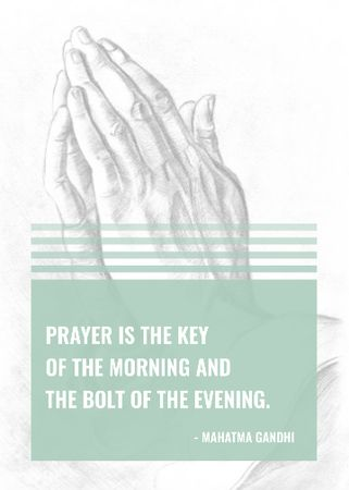 Plantilla de diseño de Religion Quote with Hands in Prayer Invitation
