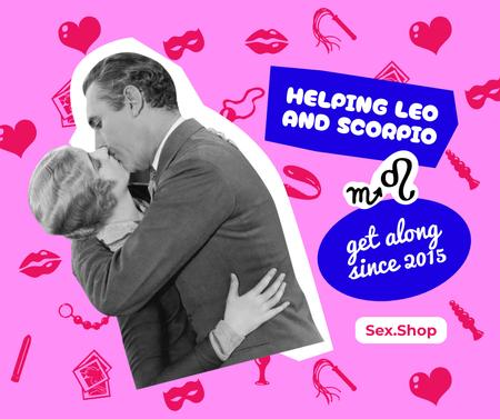 Sex Shop Offer with Couple kissing Passionately Facebook – шаблон для дизайна