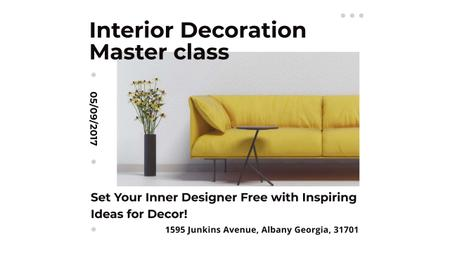Template di design Interior Decoration Event Announcement with Sofa in Yellow Youtube
