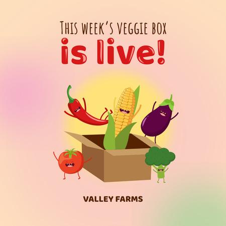 Funny Vegetable Characters in Box Instagram – шаблон для дизайну