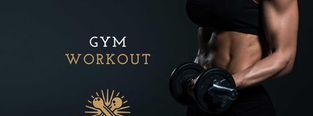 Gym Workout Offer with Woman lifting Dumbbell Facebook cover Modelo de Design