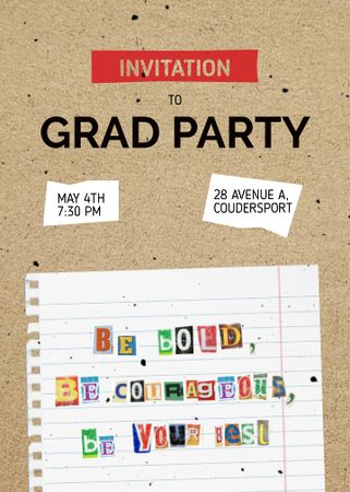 Graduation Party Announcement with School Notebook Sheet Invitation – шаблон для дизайна